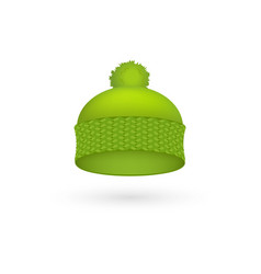 Green cold hat trendy season warm wool cap fashion vector