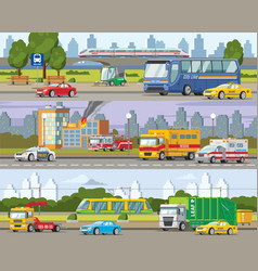 Modern urban traffic horizontal banners vector