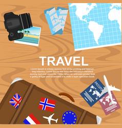 Travelers desktop top view vector