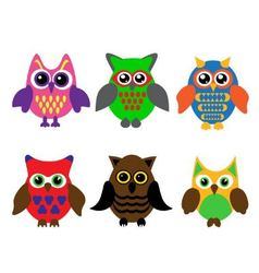 Collection of cartoon owls vector