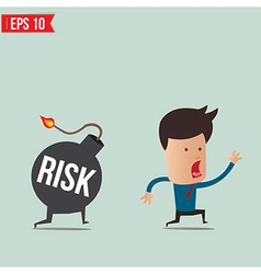 Businessman run away from risk bomb vector image