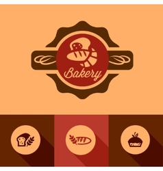 Flat bakery icons vector