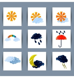 Set of weather icons sun moon clouds lightning vector image
