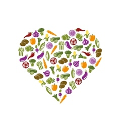 Vegetable icons in heart vector