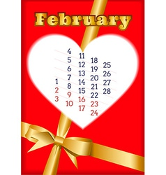 Valentine calendar for february 2013 vector
