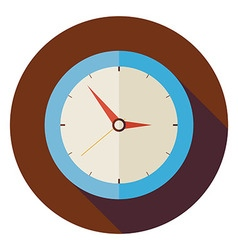 Flat office workplace interior clock circle icon vector