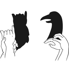 shadow of hands forming animal head vector image