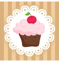 Chocolate cupcake with cherry on cute napkin vector