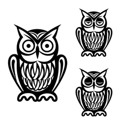 Owl simple icons set vector