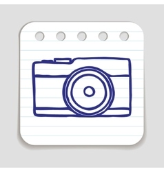 Doodle camera icon vector