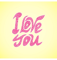 Letters l ove you text doodles valentines day vector
