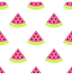 Watermelon slices seamless pink pattern on white vector