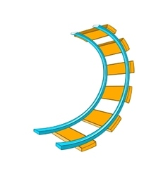 Roller coaster track icon in cartoon style vector