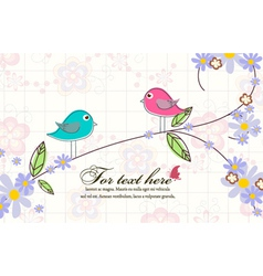 birds with floral vector image vector image
