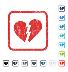 Broken heart icon rubber watermark vector