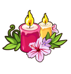 burning candles with flowers holiday concept vector image vector image