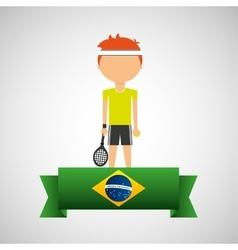 cartoon tennis player brazilian label vector image vector image
