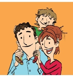 Family mom dad and son vector