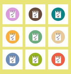 Flat icons set of progress statistics and notebook vector