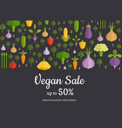 flat vegetables horizontal shop market vector image