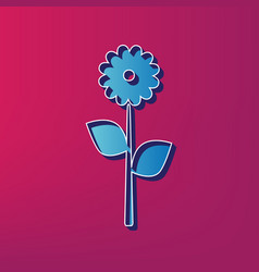 Flower sign blue 3d printed vector
