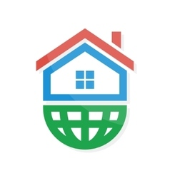 logo combination of a home and earth vector image