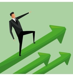 Man business standing arrows growth vector