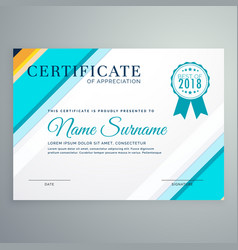 Modern certificate template with blue lines vector