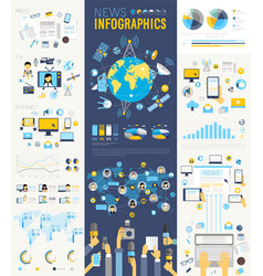 News Infographic set with charts and other vector image