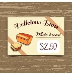 Price Tag Design White Bread vector image