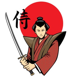 samurai with the sword vector image vector image