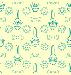 seamless background with rabbit flowers bows and vector image vector image