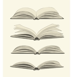 Set of vintage open books vector image