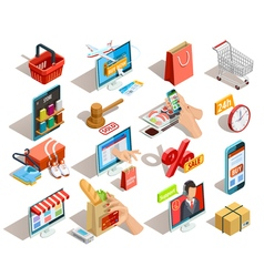Shopping e-commerce isometric icons set vector