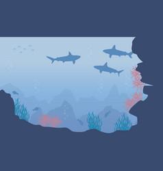 Silhouette of underwater beauty landscape vector