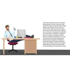 Successful businessman having rest on workplace in vector