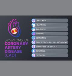 symptoms of coronary artery disease cad icon vector image vector image