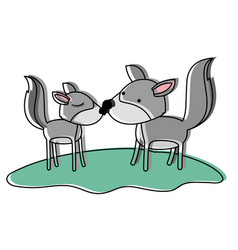 Wolves couple over grass in watercolor silhouette vector