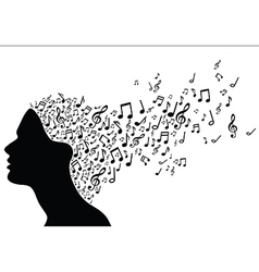 Woman head silhouette with music notes vector
