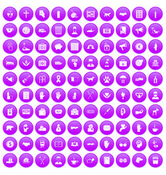 100 donation icons set purple vector