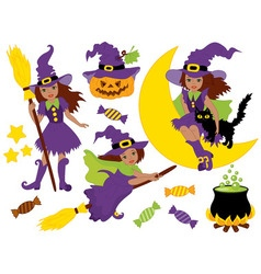 African american halloween witches set vector