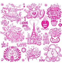 Set of hand drawn love sketchy vector
