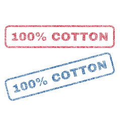100 percent cotton textile stamps vector