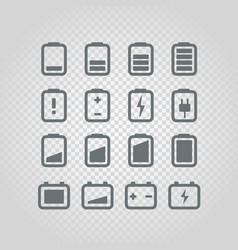 Different accumulator status icons set design vector