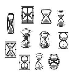 Hourglass sandglass sand clock or watch icon set vector