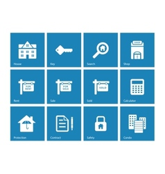 Real Estate icons on blue background vector image