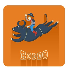 Rodeo iconman riding a bull vector