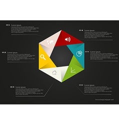 Hexagon infographic with simple signs vector