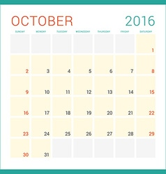 Calendar 2016 flat design template october week vector