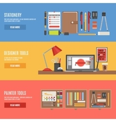 Painter and designer tools banner set vector